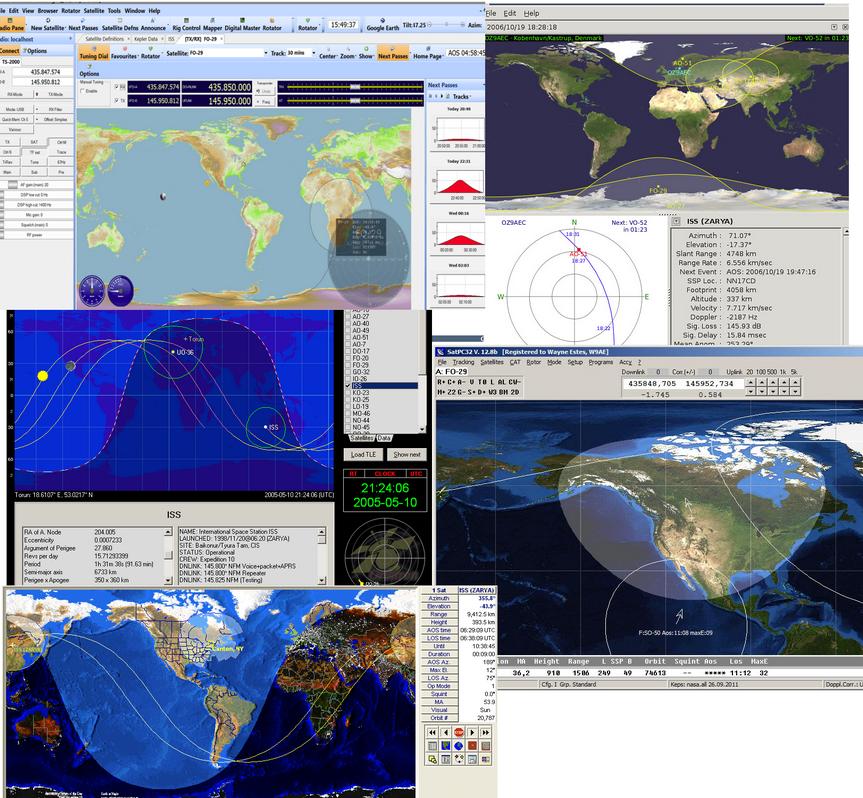 Resim-1.Yaygın Olarak Kullanılan Uydu Takip ve İstasyon Kontrol Yazılımları.